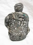 Antique Silver Metal Overlay Whiskey Rye Bottle Flask Insect Lizard Glass Eye