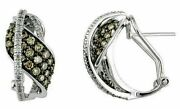 1.39ct White And Mocha Diamond 14k White Gold Pave Love Knot Leaf Clip On Earrings