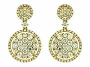 Estate 1.65ct Diamond 14kt Yellow Gold 3d Cluster Flower Halo Hanging Earrings