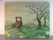 Original Oil Art On Canvas Signed Glade Scary Creepy Haunted House Rusty Jalopy