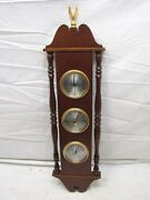 Vintage Airguide Ornate Thermometer, Barometer, Weather Station Solid Cherry