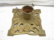 Vintage Ornate Cast Iron Christmas Feather Tree Stand Holiday Bell Candle E
