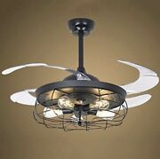Fan Light 5 Lights Ceiling Light Fixture Metal Cage With Transparent Blade