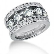 3.12 Carats Womenand039s Round Cut Diamond Anniversary Ring In 14k White Gold