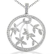 1.55 Carats Womenand039s Round Cut Diamond Pendant In 14k White Gold Leafy Pendant