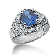 1.25 Carats Diamond And Sapphire Fancy Color Stone Ring In 14k White Gold