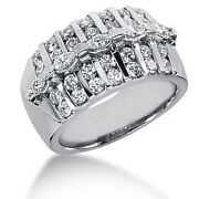 1.80 Carat Womenand039s Round And Marquise Cut Diamond Anniversary Ring In 14k Gold