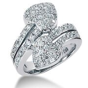 2.35 Carats Tw Womenand039s Round Brilliant Cut Diamond Heart Shape Ring In 14k Gold