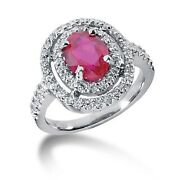 1.00 Carats Womenand039s Diamond And Ruby Fancy Color Stone Ring In 14k White Gold