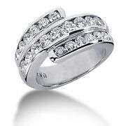 1.99 Carats G-vs Round Brilliant Cut Channel Set Diamond Band In 14k Gold