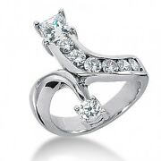 1.75 Carats Round Brilliant And Princess Cut Diamond Ring In 14k White Gold