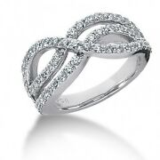 1.55 Carats Womenand039s Round Brilliant Cut Diamond Cocktail Ring In 14k White Gold