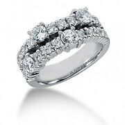 1.60 Carat Womenand039s Round Brilliant Cut Right Hand Diamond Ring In 14k White Gold