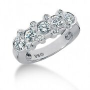 1.70 Carats Round Brilliant Cut Diamond Right Hand Ring In 14k White Gold