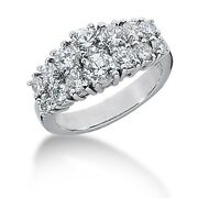 2.60 Carats Womenand039s Round Brilliant Cut Right Hand Diamond Ring 14k White Gold