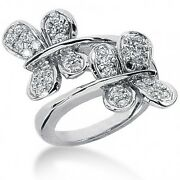 0.85 Carats Tw Ladiesand039 Round Cut Butterfly Diamond Ring In 14k White Gold