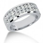 1.55 Carats Menand039s 2 Row Diamond Wedding Band Ring In 14k White Gold