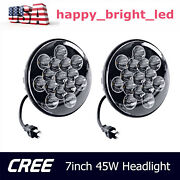 2x 7inch 45w Cree Headlight High/low Sealed Beam Truck Offroad Fits Jeep Round