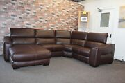 F.v. Elixir Brown Leather Electric Reclining 4 Piece Corner Sofa With Chaise