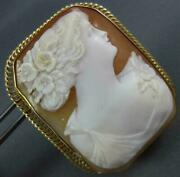 Antique Large 14kt Yellow Gold 3d Handcrafted Lady Cameo Brooch Pendant 1328