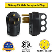 50 Amp Rv Receptacle Plug Male End 14-50p Replacement Electrical Adapter Etl