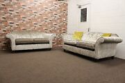Harris 3 And 2 Seater Fabric Sofas In Silver Grey Crushed Velvet Fabric