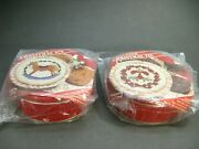 Lot Of 2 New Cross Stitch Kits Christmas Tins Decorative Tops Gift Giving Idea