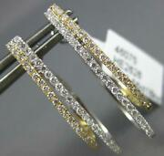 Estate .56ct Diamond 18k 2 Tone Gold 2 Row Double Oval Clip On Hanging Earrings