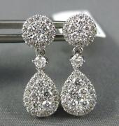 Estate .76ct Diamond 18kt White Gold 3d Cluster Tear Drop Round Hanging Earrings