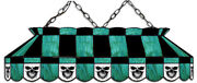 Teal Billiard Billiards Skull Stained Glass Pool Table Light-new-made In U.s.a.
