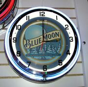 Blue Moon Beer Sign Double Ring Neon Clock 18 Inches