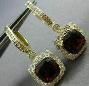 Estate Large 6.18ct Diamond And Aaa Garnet 14kt Yellow Gold Halo Hanging Earrings