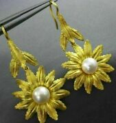 Antique Large Aaa South Sea Pearl 22kt Yellow Gold 3d Flower Hanging Earrings