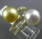 .60ct Diamond And Aaa South Sea Golden Pearl 18kt Yellow Gold 3d Criss Cross Ring
