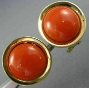 Antique Large Round Aaa Coral 14kt Yellow Gold Classic Clip On Earrings 26082
