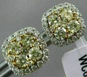 Estate 1.10ct White And Fancy Yellow Diamond 14kt Two Tone Gold Halo Stud Earrings