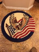 Antique Patriotic Wool Handmade Round Rug 36w Excellent Cond For Age