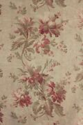 Fabric Antique French Aged Ground Floral C 1890 Cotton Large Scale Design 1 Yard