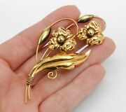 Antique Vintage Estate Yellow Gold Large Flower Brooch Stick Pin Fine Jewelry