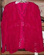 Nwt Fe Zandi Couture Beverly Hills Red Cut Out Jacket Size 14