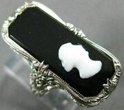 Estate Large Aaa Onyx 14kt White Gold 3d Open Filigree Lady Cameo Ring 26430