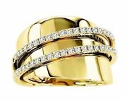 Estate Wide .35ct Round Diamond 18kt Yellow Gold 3d Classic Double Row Fun Ring