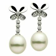 Estate .22ct Diamond And Aaa South Sea Pearl 14k White Gold 3d Butterfly Earrings
