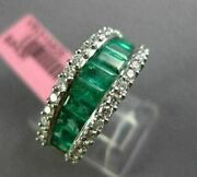 Wide 2.16ct Diamond And Aaa Emerald 18kt White Gold Semi Eternity Anniversary Ring