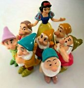 Disney 3 1/4 Snow White And Seven Dwarf Set Of 8 Characters -cake Topper Figurine
