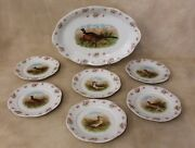Victorian 7 Pc Game Bird Serving Platter And Plates Pink Roses Quail Pheasant