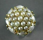 Antique Large Aaa South Sea Pearl 14kt Yellow Gold 3d Flower Cluster Ring 22299