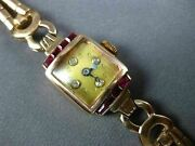 Antique .84ct Old Mine Cut Diamond And Ruby 14kt Rose Gold 3d Art Deco Watch 2076