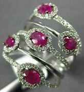 Estate Large 1.65ct Diamond And Aaa Ruby 14k White Gold Multi Row Anniversary Ring