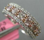 Estate 1.02ct White And Pink Diamond 18kt White And Rose Gold Halo Anniversary Ring